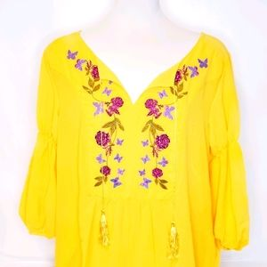 Boho Embroidered Flowers & Butterflies Sheer Tunic